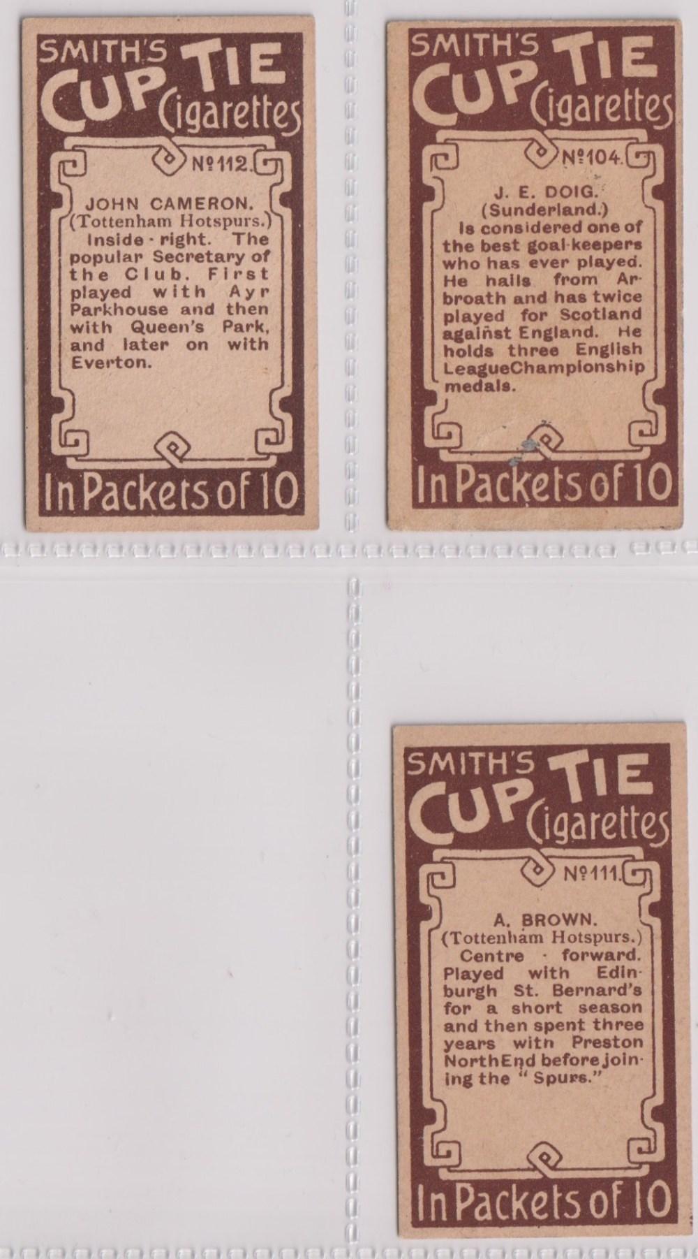 Cigarette cards, Smith's, Footballers (Brown back) 3 cards nos 104, (sl corner crease), 111, & - Image 2 of 2