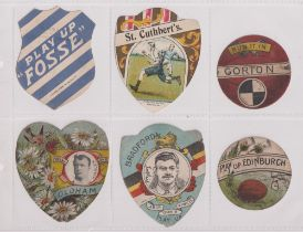 Trade cards, 6 cards, three Baines Shields for St Cuthbert's (vg), 'Play Up Fosse' (number in ink on