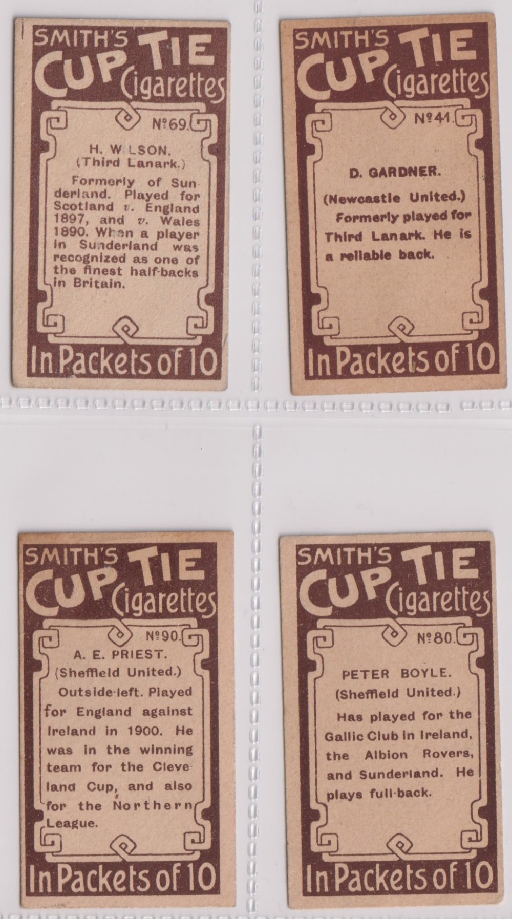 Cigarette cards, Smith's, Footballers (Brown back) 4 cards nos 41, 69, 80, & 90 (sl edge knocks - Image 2 of 2