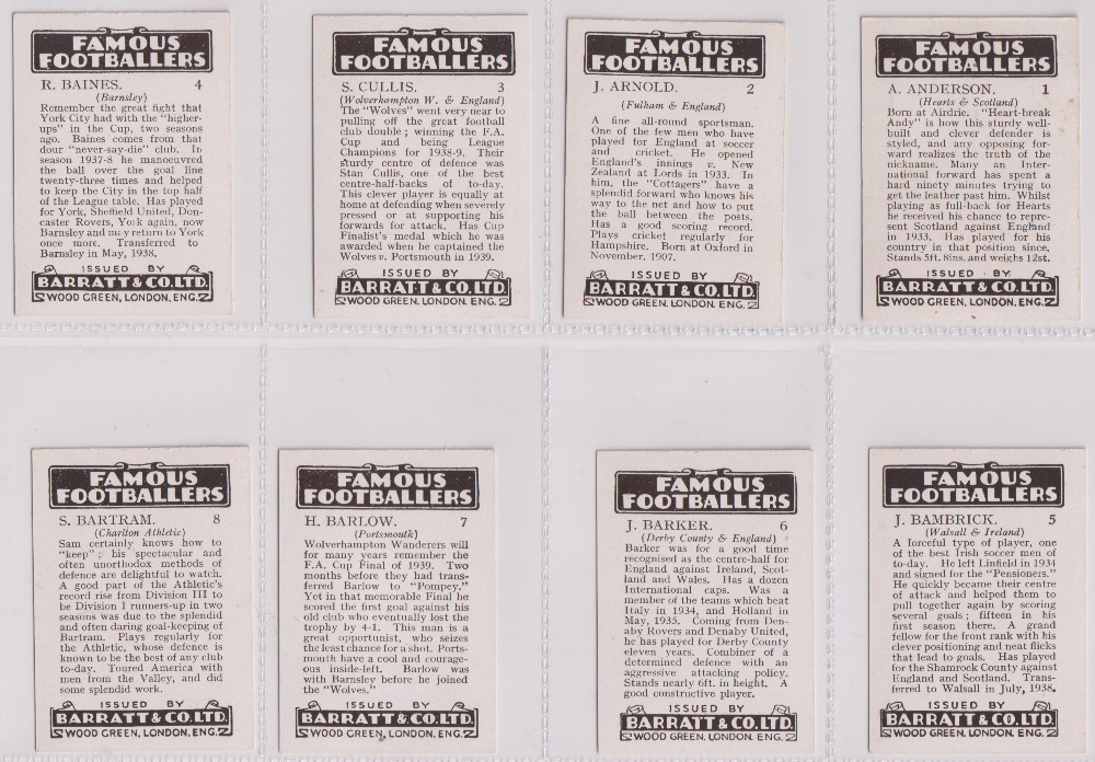 Trade cards, Barratt's, Famous Footballers (Numbered) 'M' size, 1939/40, ref HB-35 E, (set, 110 - Image 2 of 28