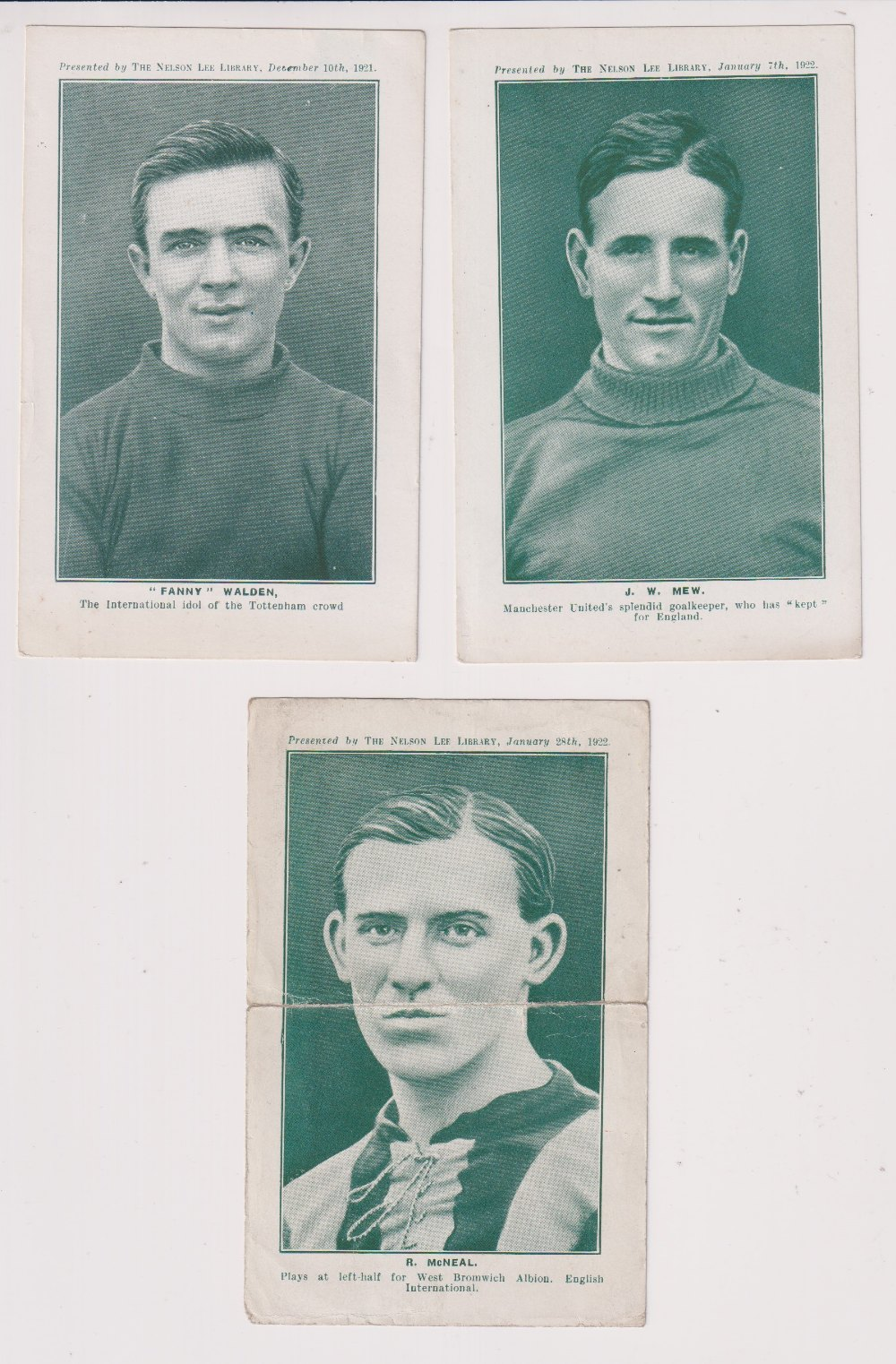 Trade cards, Nelson Lee Library, Footballers, greenish-grey halftones, 'P' size, English issue (9/ - Image 4 of 4