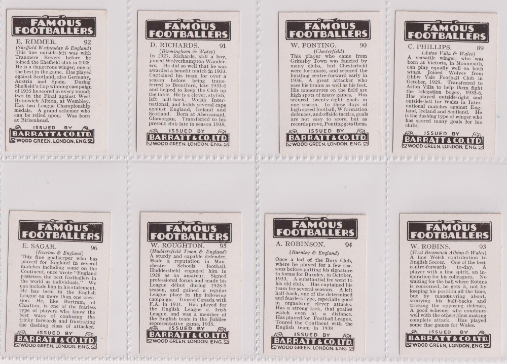Trade cards, Barratt's, Famous Footballers (Numbered) 'M' size, 1939/40, ref HB-35 E, (set, 110 - Image 24 of 28