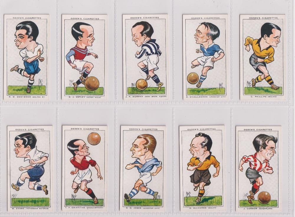 Cigarette cards, Ogden's, three sets, Football Caricatures (50 cards, gd), Football Club Captians (