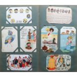 Postcards, a vintage album of approx 131 mixed subject cards incl. comic (prison, marriage), novelty