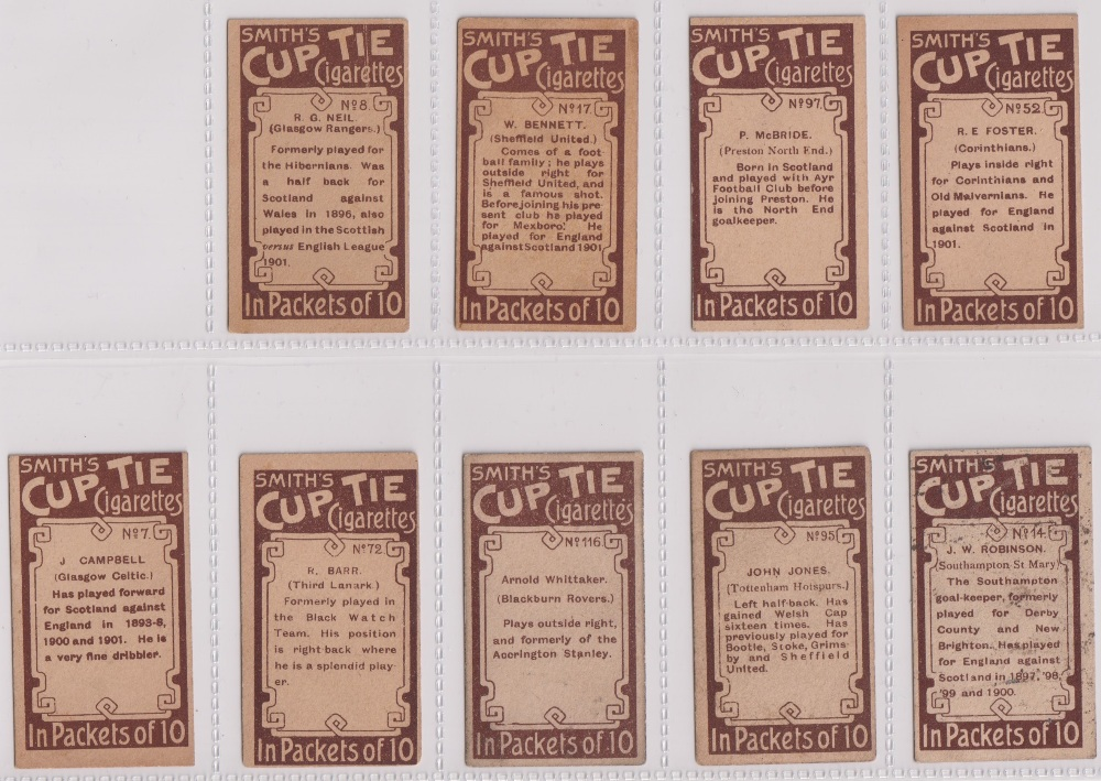 Cigarette cards, Smith's, Footballers (Brown back) 9 cards nos 7, 8, 14, 17, 52, 72, 95, 97 & 116 ( - Image 2 of 2