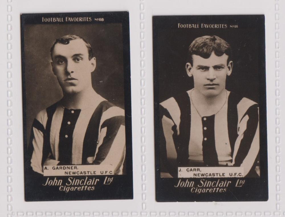 Cigarette cards, John Sinclair, Football Favourites, Newcastle U.F.C., two cards, no 66 J. Carr (