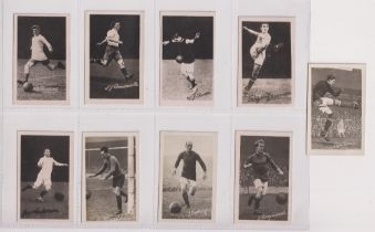Trade cards, Boys Realm, Famous Footballers, 'M' size, (set, 9 cards) (gd)