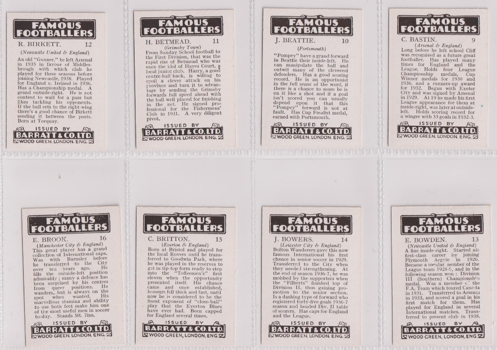 Trade cards, Barratt's, Famous Footballers (Numbered) 'M' size, 1939/40, ref HB-35 E, (set, 110 - Image 4 of 28