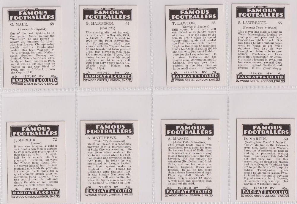Trade cards, Barratt's, Famous Footballers (Numbered) 'M' size, 1939/40, ref HB-35 E, (set, 110 - Image 18 of 28