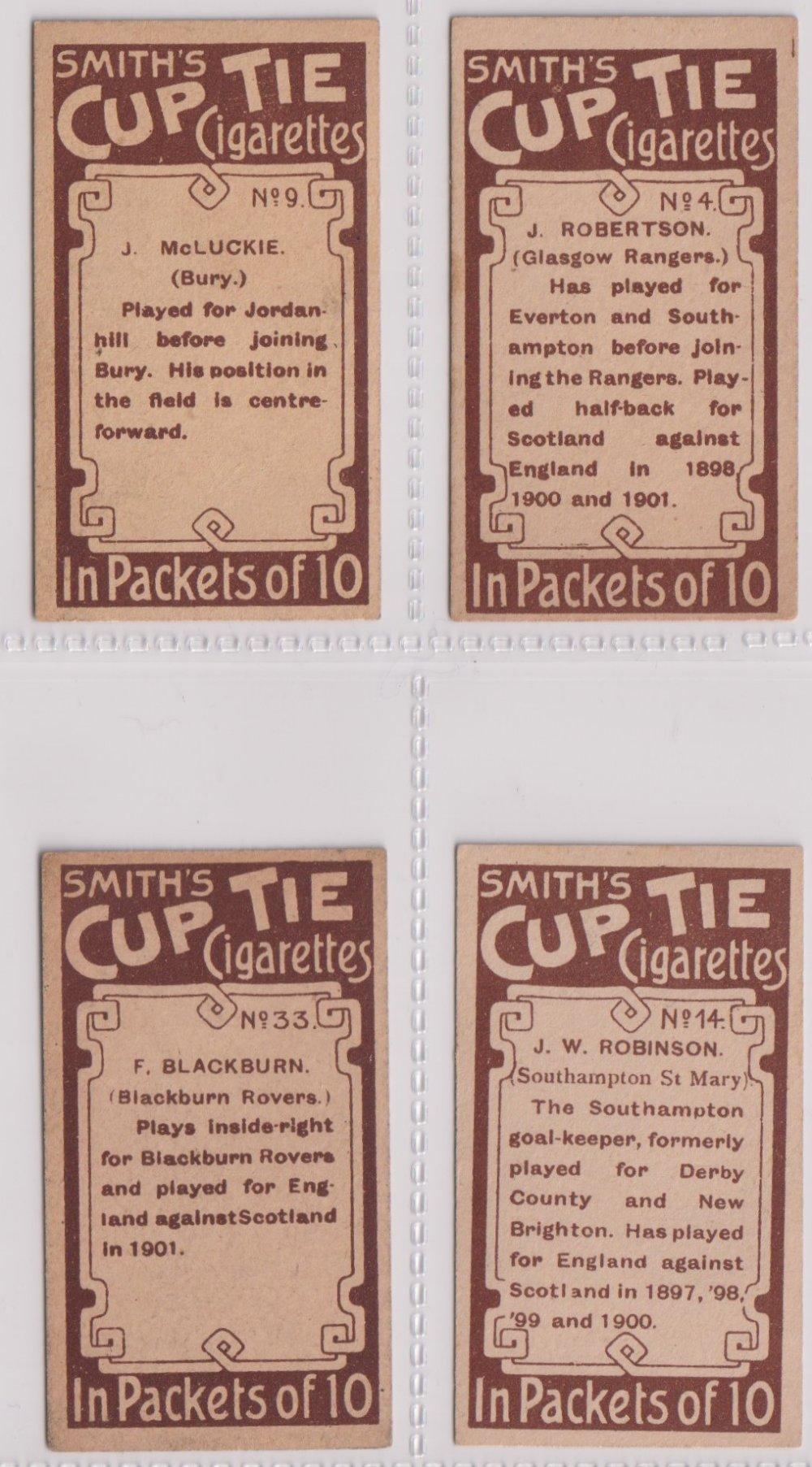 Cigarette cards, Smith's, Footballers (Brown back) 4 cards nos 4, 9, 14 & 33 (sl edge knocks gen - Image 2 of 2