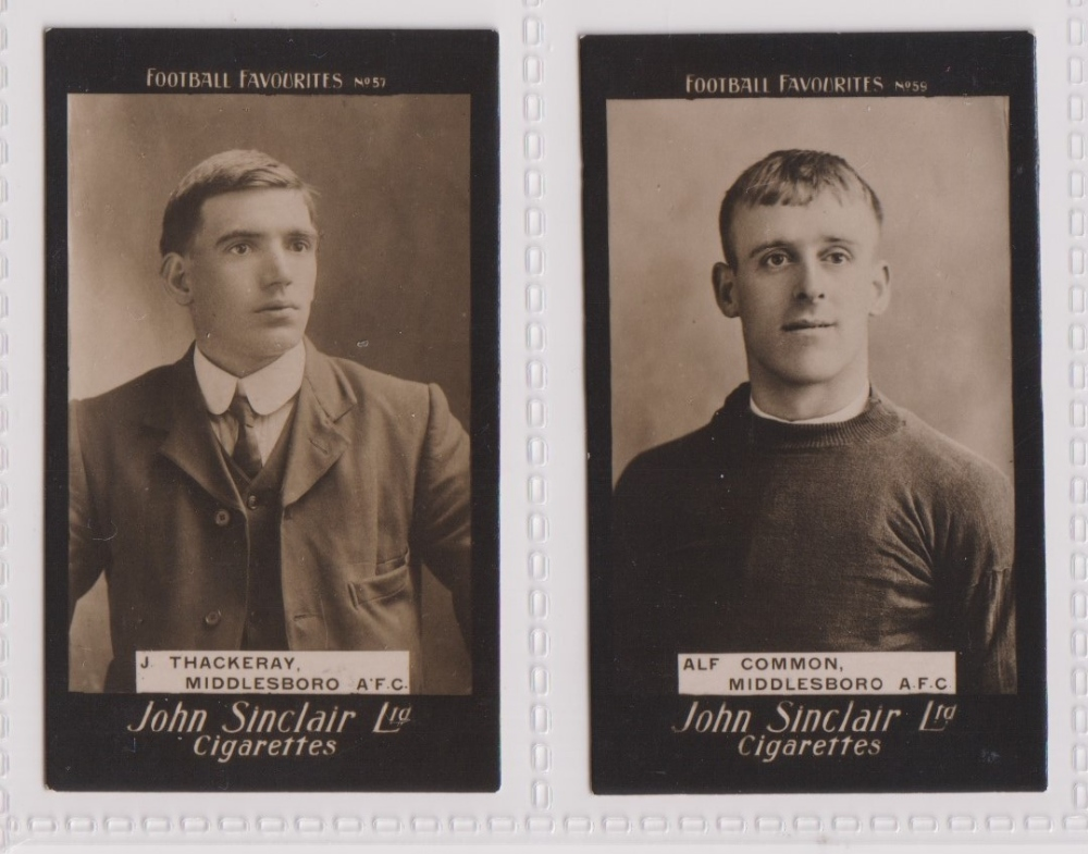 Cigarette cards, John Sinclair, Football Favourites, Middlesboro A.F.C. two cards, no 57 J.
