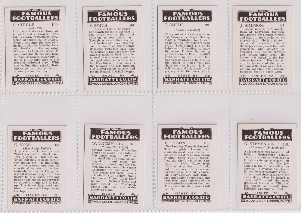 Trade cards, Barratt's, Famous Footballers (Numbered) 'M' size, 1939/40, ref HB-35 E, (set, 110 - Image 26 of 28