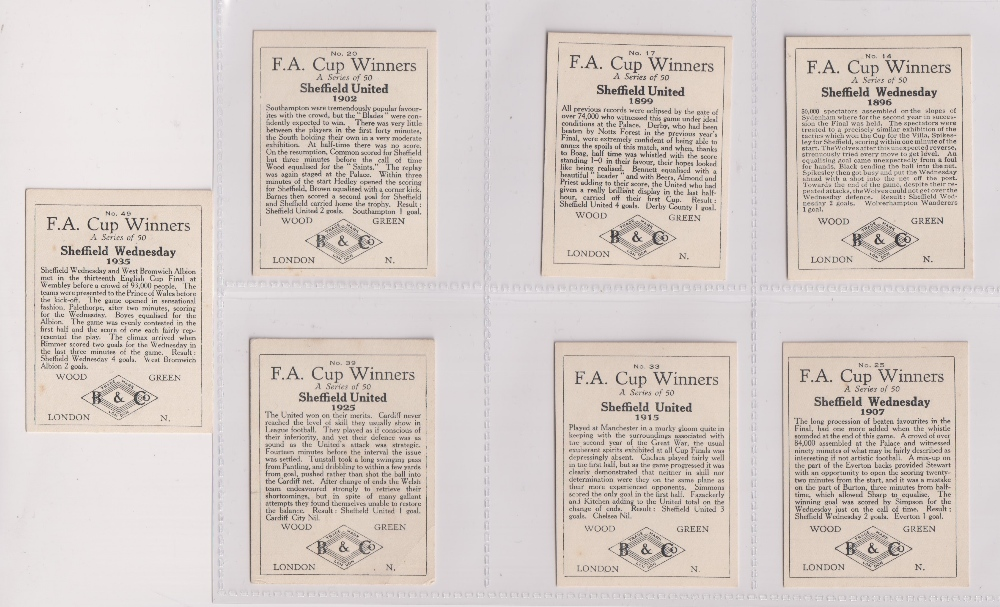 Trade cards, Football, Barratt's, F.A. Cup Winners, 7 cards, four Sheffield United, nos 17 1899, - Image 2 of 2