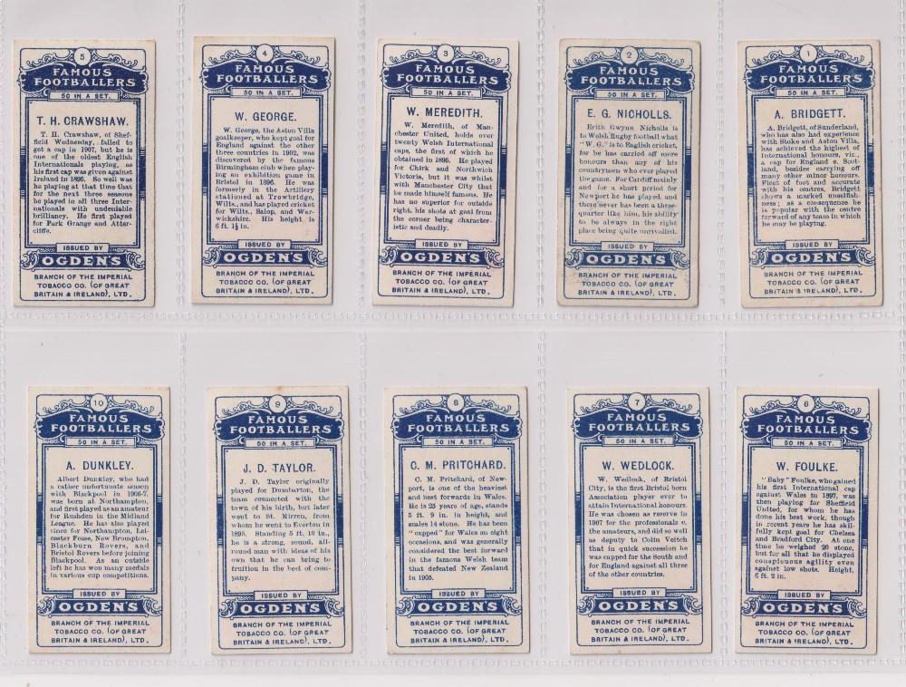 Cigarette cards, Ogden's, Famous Footballers (set, 50 cards) includes Meredith, Manchester United ( - Image 2 of 2