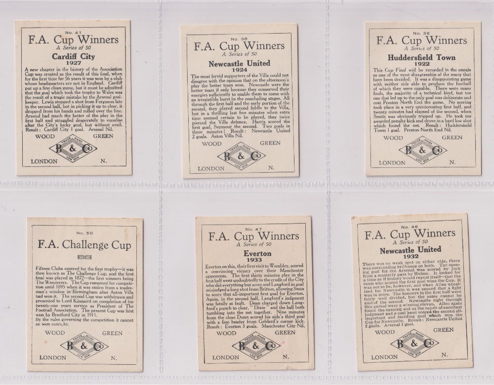 Trade cards, Football, Barratt's, F.A. Cup Winners, 6 cards, no 36 Huddersfield Town 1922, no 38 - Image 2 of 2