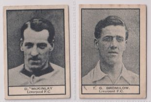 Trade cards, Crescent Confectionery, Footballers, ref HC139, two cards, both Liverpool, D.