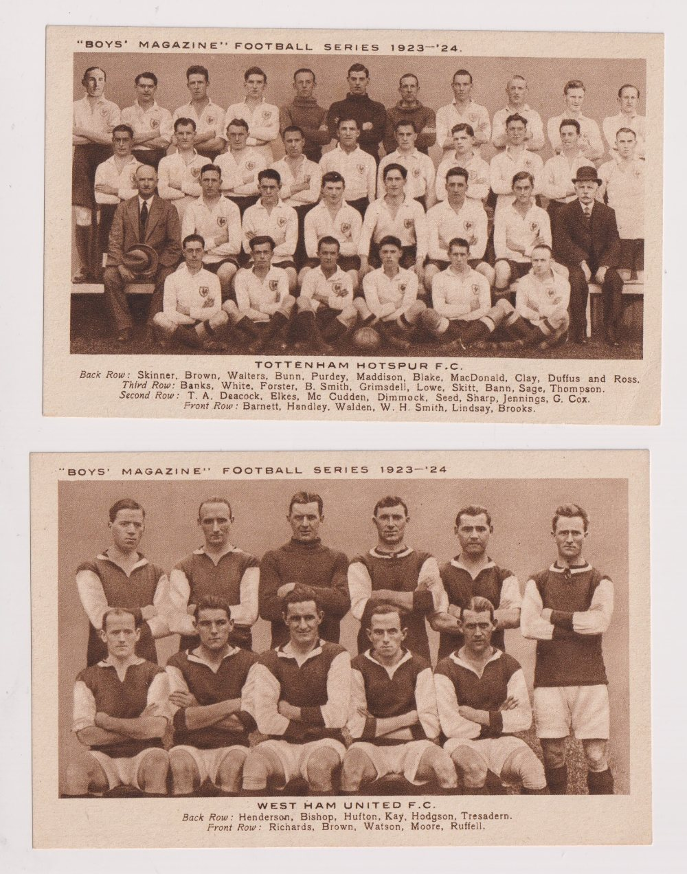 Trade cards, Boys Magazine, Football Teams, Brown Gravures, postcard size, set of 6 from Season - Image 2 of 2