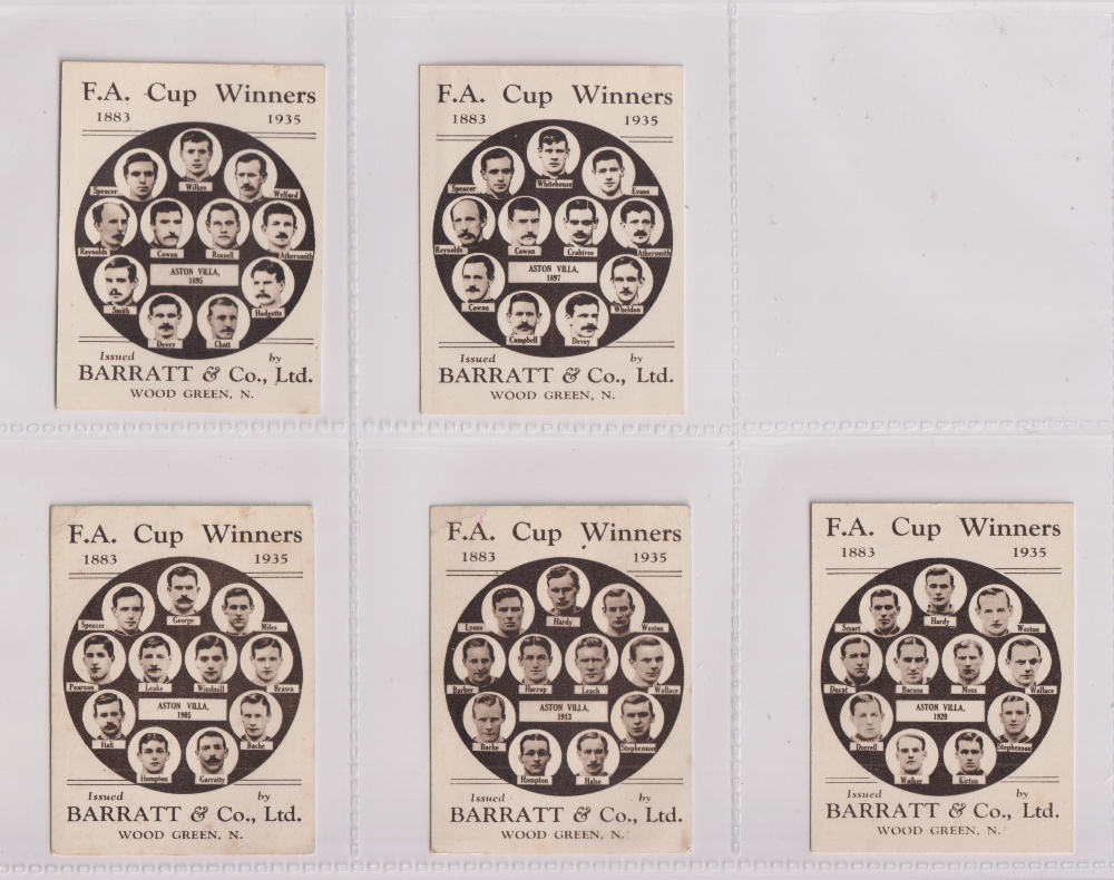 Trade cards, Football, Barratt's, F.A. Cup Winners, 5 cards, all Aston Villa, no 13 1895 (gd/vg), no