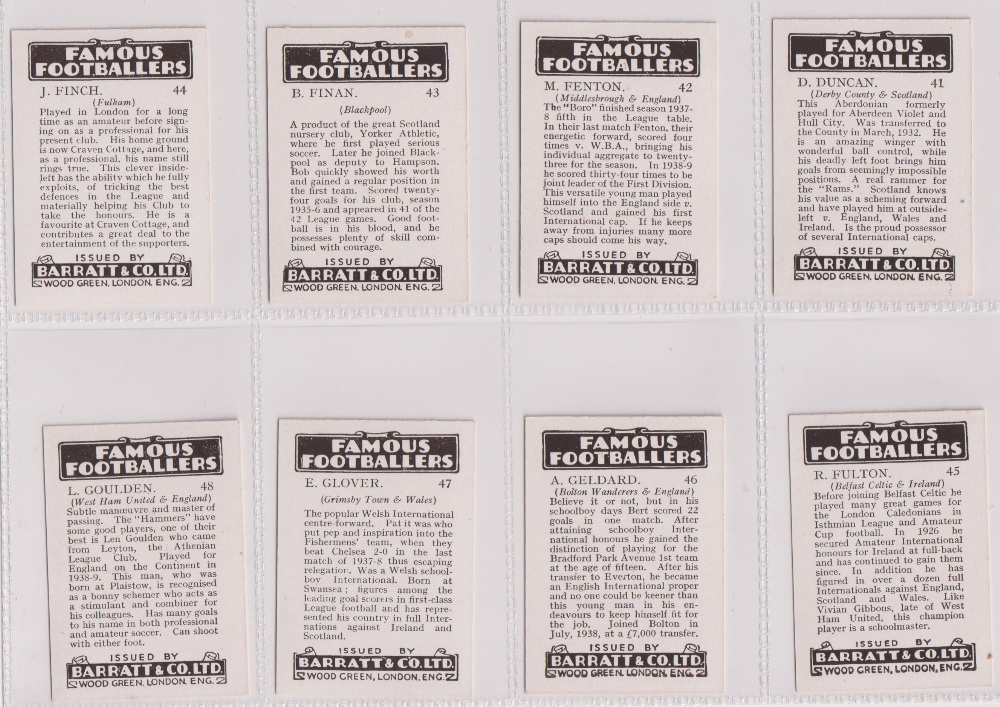 Trade cards, Barratt's, Famous Footballers (Numbered) 'M' size, 1939/40, ref HB-35 E, (set, 110 - Image 12 of 28