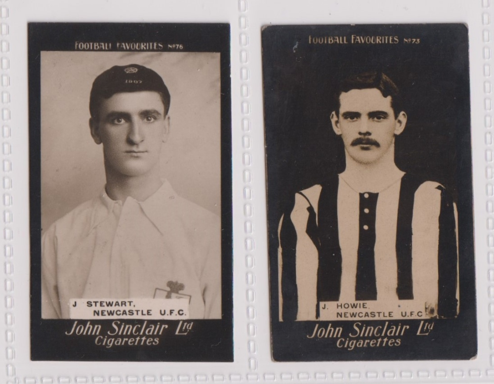 Cigarette cards, John Sinclair, Football Favourites, Newcastle U.F.C., two cards, no 73, J. Howie (