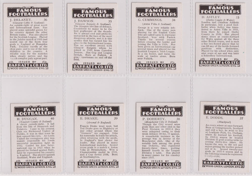 Trade cards, Barratt's, Famous Footballers (Numbered) 'M' size, 1939/40, ref HB-35 E, (set, 110 - Image 10 of 28