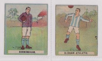 Trade cards, Battock's, Cricket & Football Cards, two coloured cards, both Football, Birmingham &