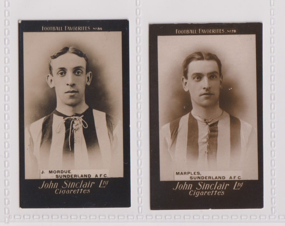 Cigarette cards, John Sinclair, Football Favourites, Sunderland A.F.C, two cards, no 78 Marples (
