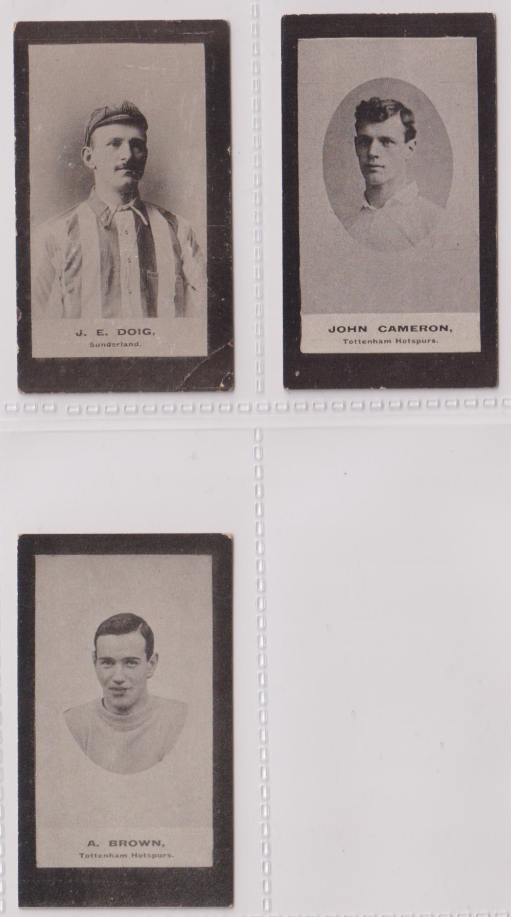 Cigarette cards, Smith's, Footballers (Brown back) 3 cards nos 104, (sl corner crease), 111, &