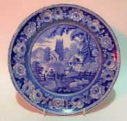 Early 19th Century pearlware blue and white transfer printed dish in the Village Church pattern,