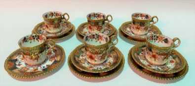 Copeland Spode Imari pattern set of five coffee can trios together with another coffee can and
