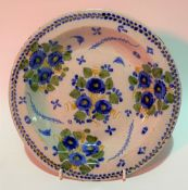 18th Century English Delft foliate decorated dish, diameter 23cm