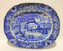 A 19th Century blue and white transfer printed platter by John & Richard Riley in the 'Eastern