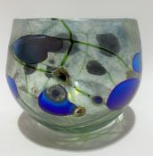 A Norman Stuart Clarke art glass iridescent vase, with trailed and drip decoration, signed and dated