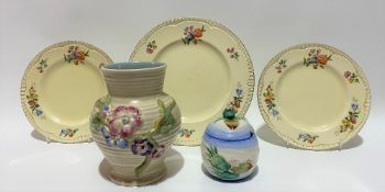 A Clarice Cliff Newport Pottery blossom relief moulded vase in the 'My Garden' pattern, No.912,