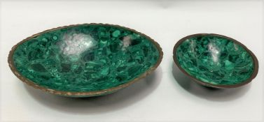 Two malachite brass mounted dishes, largest 16.5cm.