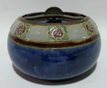 Royal Doulton stoneware ovoid tobacco jar and cover, patent no. 194168 and impressed no. 8674 UBW,