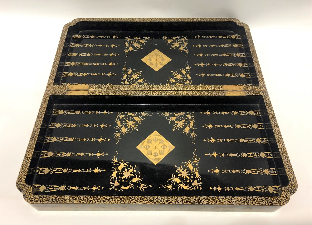 A 19th Century Chinese export black lacquer and gilt decorated hinged games box, the lid and base - Image 3 of 3