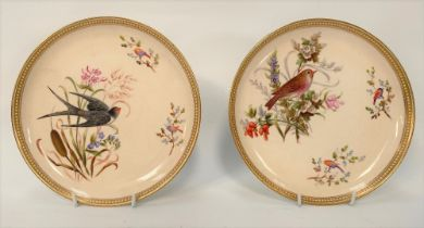 A pair of 19th century Royal Worcester ornithological painted blush ivory cabinet plates, No.