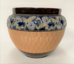 A Royal Doulton stoneware ovoid jardinière, with applied foliate scrolls and basket moulding,