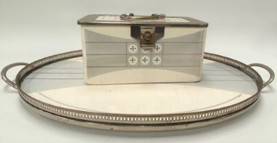 A WMF silver plate mounted pottery rectangular hinge-lidded box, the mount with stamped mark and