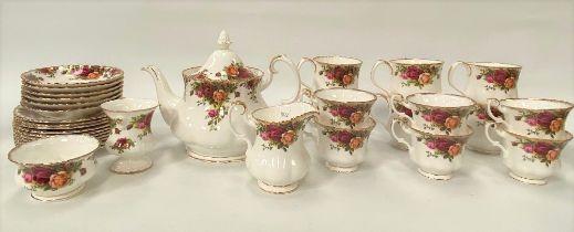 Royal Albert 'Old Country Roses' tea wares, including a tea pot, a cream jug, a sugar bowl, six
