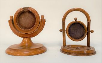 A Mauchline Ware pocket watch stand printed with a vignette of the pier at Skegness, height 10cm;