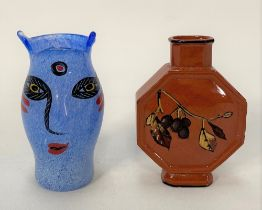 A Kosta Boda 'Artist Collection' art glass vase painted with a face, inscribed inscription and