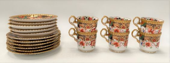 A Copeland Spode Imari pattern set of five coffee cans; together with another coffee can and side
