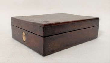 A George III mahogany boxwood and ebony banded campaign mirror within hinge-lidded box, revealing an