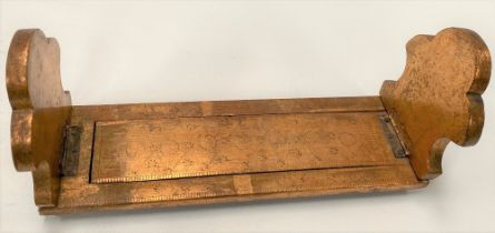 A Victorian gilded and painted folding book trough with engraved decoration, width 29cm.