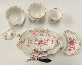 Royal Crown Derby 'Derby Posies' pattern wares including three dishes, a butter knife, two vases and