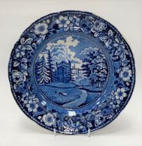 A 19th century blue and white transfer printed dish by Andrew Stevenson in Faulkborn Hall pattern,