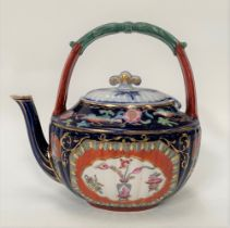 A Victorian Ashworth pottery Imari decorated chinoiserie teapot, the base with lozenge