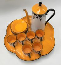 A Royal Worcester Art Deco coffee set for six comprising coffee pot, six coffee cans and saucers and